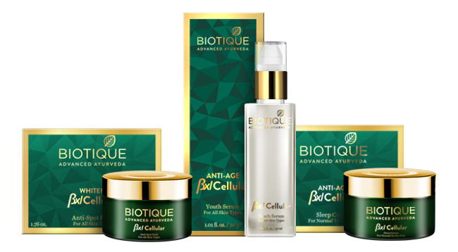 Image of Biotique Beauty Products which was displayed in a black background.