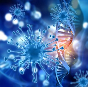 3d render DNA and Cancer Harmone isolated on Black background
